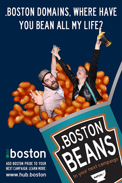 A green screen image with a couple bursting out of a can of Boston Beans