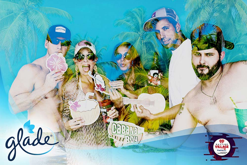 Friends pose in the photo booth with fun tropical themed props, and a tropical filter is blended with the image to produce a cool overlay effect