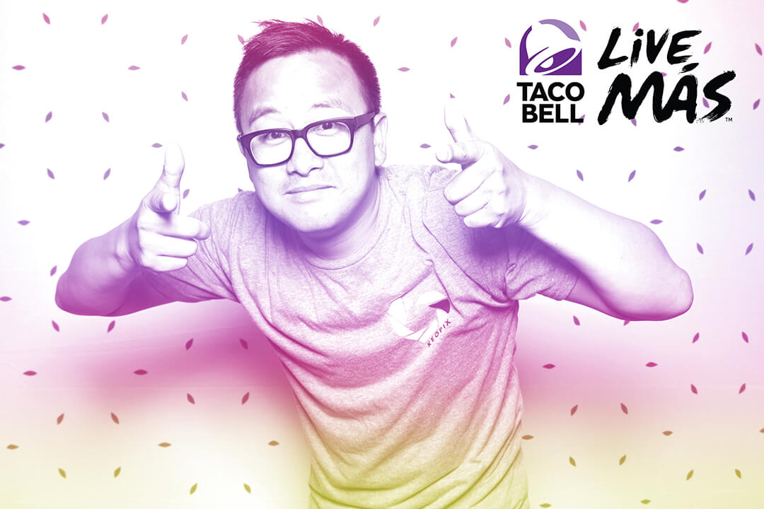 A vintage filter is applied to an image taken of a man at the Taco Bell Live Mas Photo Booth