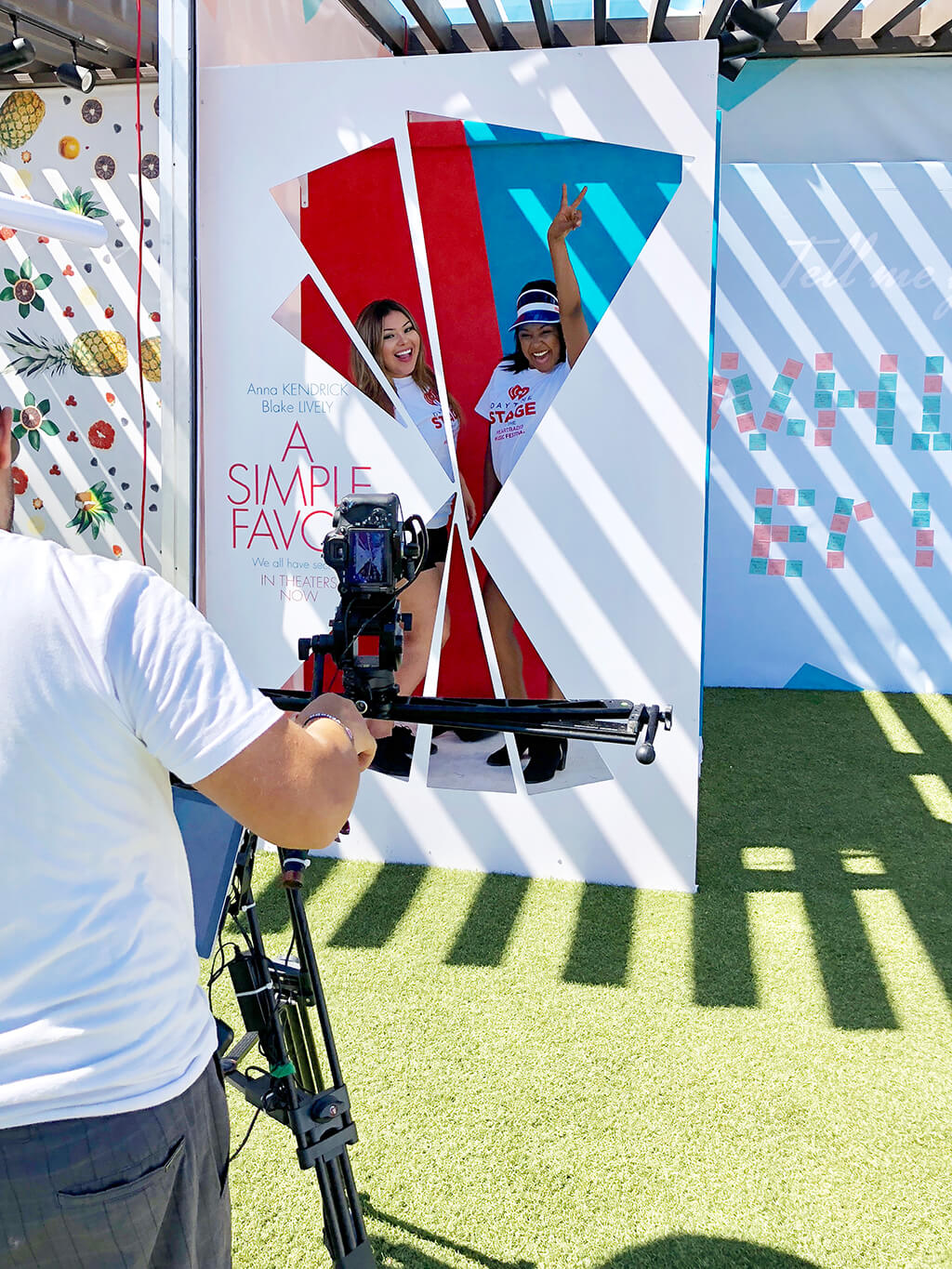 Two Women posing for a 3D Boomerang at the Simple Favor photo-op at the 2018 iHeart Radio Music Festival in Las Vegas